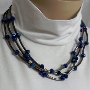 "GUN METAL TOPAZ BLUE 3 ROW BEADED 18"" NECKLACE NWT"